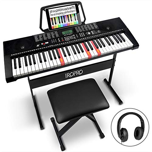 61-Key Portable Electronic Keyboard Piano for Beginners with Lighting Keys,Interactive Teaching System,3 Teaching Modes…