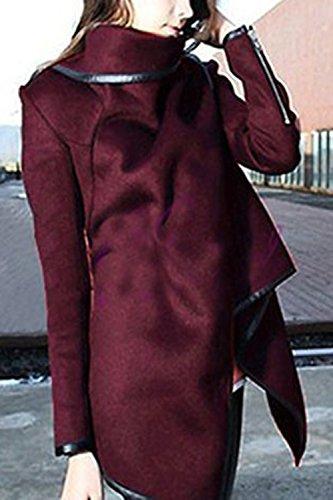Manga Abrigo Larga De Casual Chaqueta Outwear Tops Yacun Wrap De Wine Slim Mujeres cWHTWyO