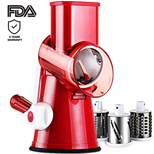 Salad Maker - Vegetable Mandoline Slicer, Vegetable Fruit Cutter Cheese Shredder Rotary Drum Grater with 3 Stainless Steel Rotary Blades and Suction Cup Feet (New) (Spiral Peanut Red)