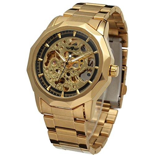 PIXNOR - Hombres automático Mecánico Reloj de Muñeca (Golden + Negro): Amazon.es: Relojes