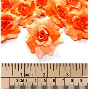 """(100) Silk Two Tone Orange Roses Flower Head - 1.75"""" - Artificial Flowers Heads Fabric Floral Supplies Wholesale Lot for Wedding Flowers Accessories Make Bridal Hair Clips Headbands Dress 4"""