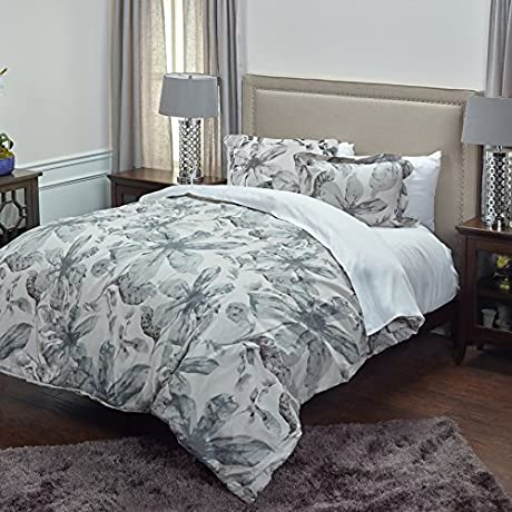 Rizzy Home CFSBT1736IVGY1692 Lark Comforter Set Ivory King
