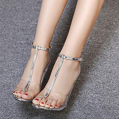 Botas de mujer verano zapato transparente traje de goma Chunky TALÓN TALÓN DE CRISTAL Plata Oro Negro Gold