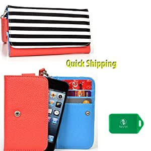 Wallet with phone holder [ModeRn] Black and white lines UNVERSAL FIT FOR Celkon A64