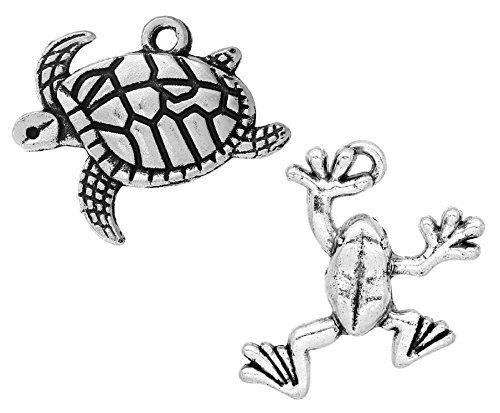 Tibetan Silver Seahorse Charms - Charm Pendants 60 Pack (30 Turtles and 30 Frogs) - Findings, DIY Crafts, Jewelry Making