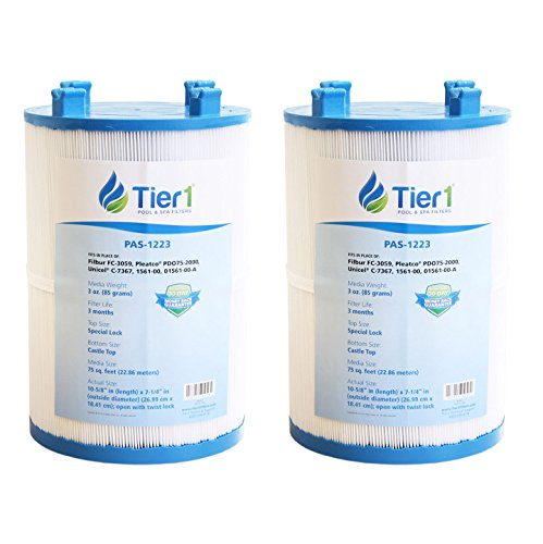 Tier1 Dimension One 1561-00, Pleatco PDO75-2000, Filbur FC-3059, Unicel C-7367 Comparable Replacement Spa Filter Cartridge for Dimension one Spas (2 Pack)