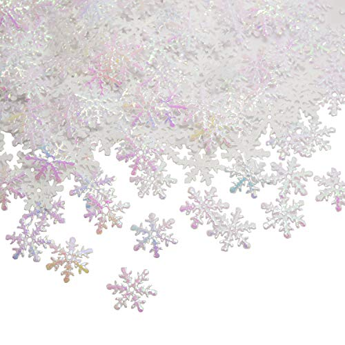 Glitter Snow Christmas (catin Snowflakes Confetti for Christmas Wonderland Winter Frozen Party White Color with Iridescent Finish 600 Pcs)