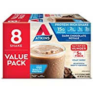 Atkins Gluten Free Protein-Rich Shake, Dark Chocolate Royale, Keto Friendly, 8 Count (Pack of 1)