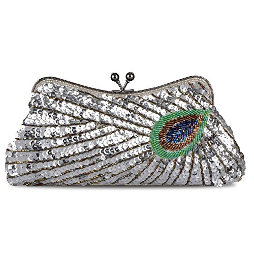(Women's Vintage Beaded Sequin Peacock Purse Evening Bags and Clutches(Silver))