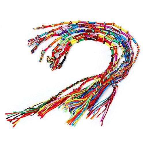 9pcs Bracelets Brésiliens Bracelets de Cheville Bracelet Hippie Fil Tressé Coloré Fait à la Main #3 (Couleur Aléatoire)