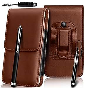 N4U Online - BlackBerry 9720 superior de la PU del cuero del caso de la piel de la bolsa de la correa de la pistolera de la cubierta y Stylus Pen Set 3 - Marrón