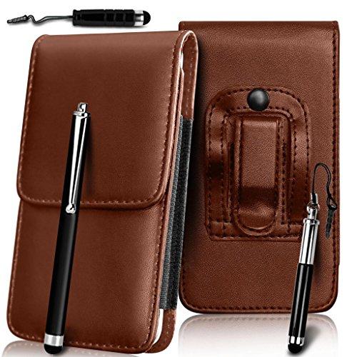 N4U Online - Skin Case Pouch Belt Holster Apple Iphone 3G haut de gamme en cuir PU Cover & 3 Stylet - Brun