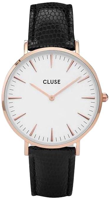 CLUSE Reloj Analógico para Mujer de Cuarzo con Correa en Cuero CL18037: Amazon.es: Relojes