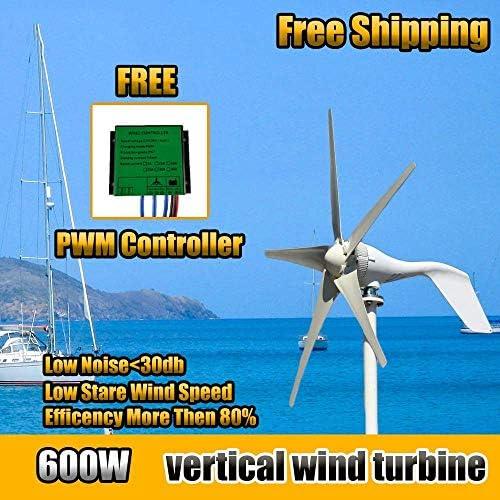 CTO 600W Wind-Turbinen-Generator-12V / 24V / 48V 5 Blades Horizontal Windgenerator mit Controller-Windmühle Energieanlagen Lade,24V