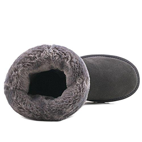Nieve Antideslizante Botas Gris Clásicos Mujer Invierno De Impermeable Para Shenduo Zapatos Alta Pierna Piel D5115 Aw14qvXWx
