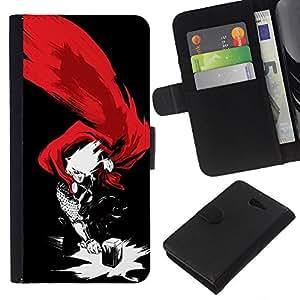 YiPhone /// Tirón de la caja Cartera de cuero con ranuras para tarjetas - THOR & HAMMER SUPERHERO - Sony Xperia M2