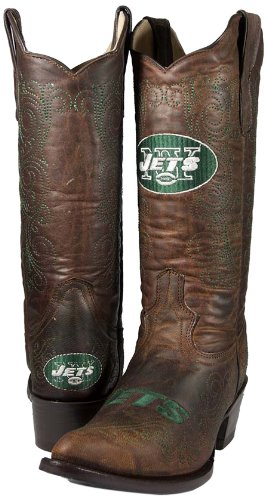 NFL New York Jets Women's Flyer Pull Up Western Boot, Brown, 10