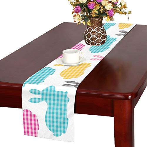 - WUTMVING Cute Bunnies Table Runner, Kitchen Dining Table Runner 16 X 72 Inch for Dinner Parties, Events, Decor