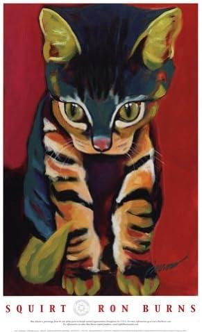 Buyartforless Framed Squirt by Ron Burns 24x18 Art Poster Print Cute Funny Animals Cat Kitten