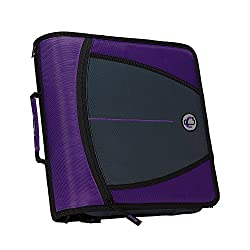 Case-it Mighty Zip Tab 3-inch Zipper Binder, Purple, D-146-pur