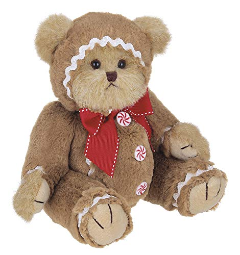 Bearington Gingerbeary Holiday Plush Stuffed Animal Teddy Bear in Gingerbread Man Suit, 10 inches from Bearington Collection