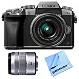 Panasonic LUMIX G7 Interchangeable Lens Silver DSLM Camera 14-42mm and 45-150 Lens Bundle - Includes Camera with 14-42mm Lens, LUMIX G VARIO 45-150mm H-FS45150 Silver Lens, and Micro Fiber Cloth