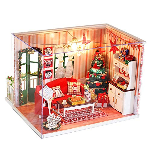 (Gbell Wooden Doll Houses with Furniture,Girls Miniature House Furniture Toy LED Light Playhouse Handmade Creative Wooden Cottage 3D Puzzles Dollhouse Models for Baby Girls (Colored/Ship from US))