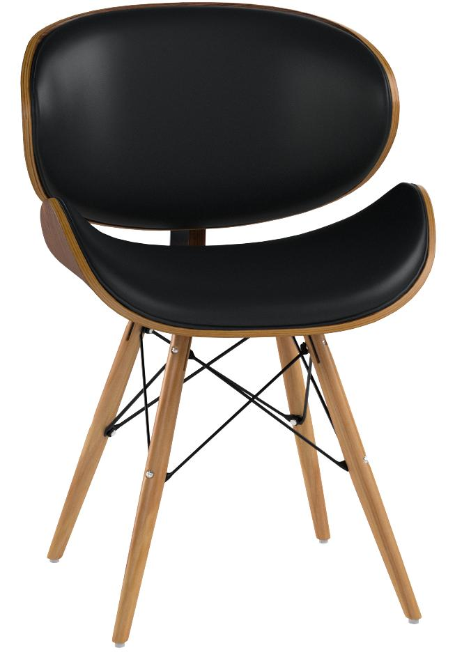 Armen Living Lccasiwabl Cassie Dining Chair In Black Faux Leather And Walnut Wood Finish Amazon Co Uk Kitchen Home