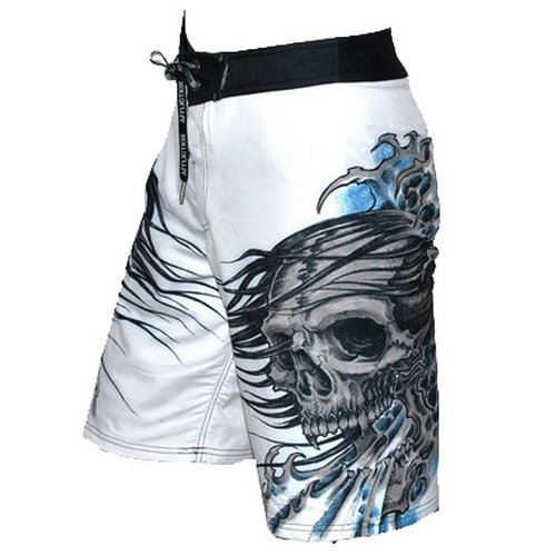 22b9fb703d Mens Affliction by Christian Audigier White Drowning Asian Skulls Surfing  Boardshorts. Keep cool in the hottest shorts this summer! | Amazon.com
