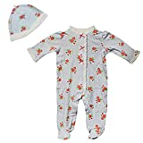 Little Me Infant Flowers and Stripe Strawberry Footie Pajama Footed Sleeper Hat 9M