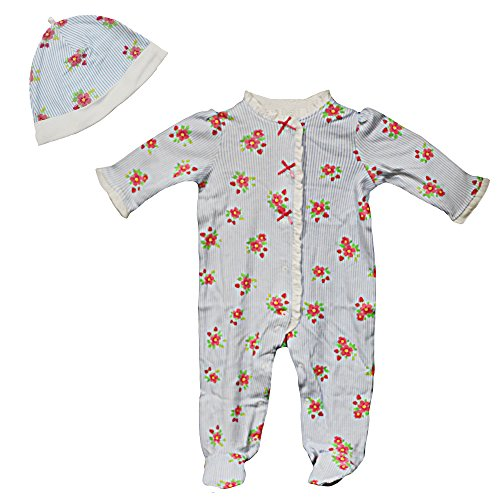 Little Me Infant Flowers and Stripe Strawberry Footie Pajama Footed Sleeper Hat 9M ()