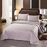 """Luxury 3-Piece Reversible Quilt Set with Shams, as Bedspread/ Coverlet/ Bed Cover, Solid Light Grey, Full/Queen Size( 92""""X88"""") -Soft, Lightweight and Hypoallergenic"""