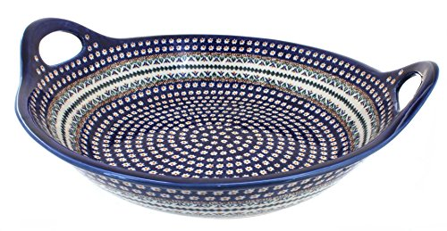 Polish Pottery Daisy Large Deep Bowl with Handles by Zaklady
