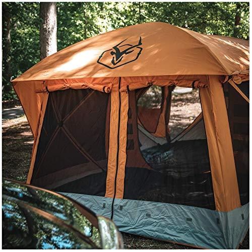 Gazelle T4 Plus Tienda de campaña portátil para refugio al aire libre, extragrande, extragrande, para 4 a 8 personas, con pantalla extendida en la sala de sol, naranja
