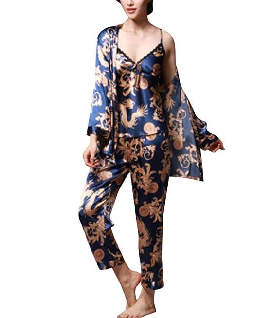 LiangZhu Mujer Ropa Interior Saten Camisa De Dormir Salto De Cama Cuello V Sling Jacket + Pantalon Batas De Hombre: Amazon.es: Ropa y accesorios