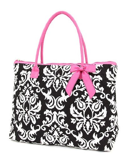 Belvah Extra Large Quilted Damask Print Tote Handbag – Choice of Colors (Black/Pink), Bags Central