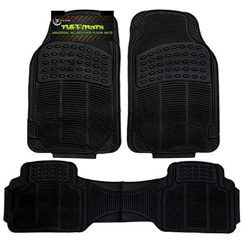 TuffMats 3-Piece 3PC Black Universal Trim-Fit Floor Mat Covers Durable for Any Weather and Odor Resistant with Dirt & Debris Pockets fits All Automobiles by Rugged TUFF