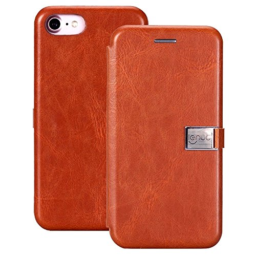 cuir Crazy fentes étui Brown Flip 7 des 8 amp; Lenuo PU Fashion en pour Texture horizontale Color avec iPhone simple Gold cartes TPU pour Horse amp; RZvnwTqW
