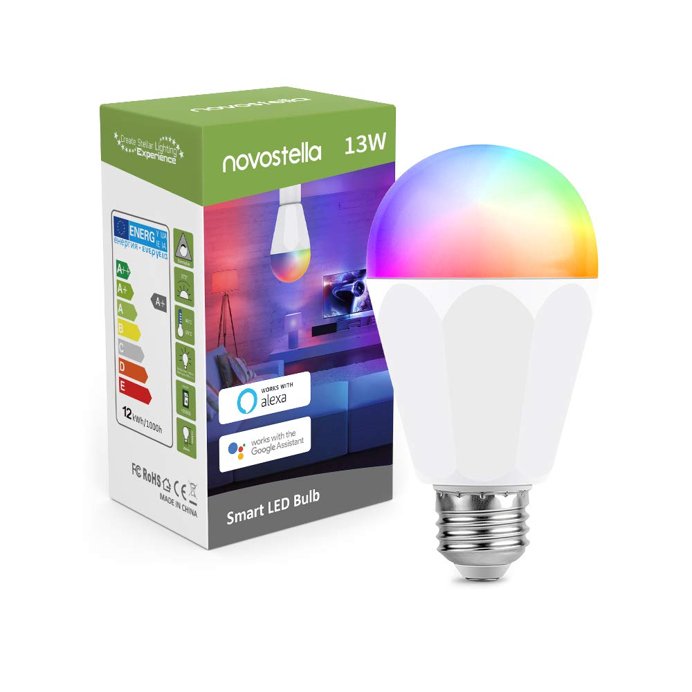 NOVOSTELLA 3pcs Ampoule Connect/ée 13W LED E27 1300LM Ampoule Multicolore pour Alexa Echo dot Google Home IFTTT 2700K-6500K
