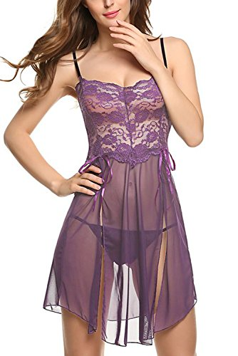 Women-Sexy-Lingerie-See-through-Babydoll-Sling-Mini-Dress-with-G-string