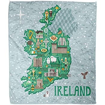Map Of Ireland Castles.Amazon Com Emvency Flannel Throw Blanket Landscape Map Of Ireland