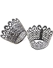 50PCS Hollow Cupcake Wrappers Muffin Cases Party Favors Cake Cup (Black)