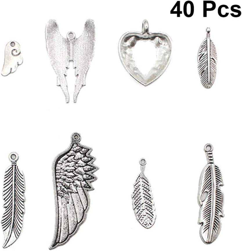 Healifty Antique Silver Tibetan Charm Feather Wing Angel Pendant Charms DIY Jewelry Making Accessory for Necklace Bracelet 40pcs