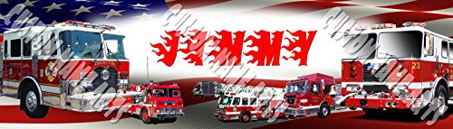 Personalized American Fire Trucks Banner Birthday Poster Custom Name Painting Wall Art Decor Fire Truck Painting