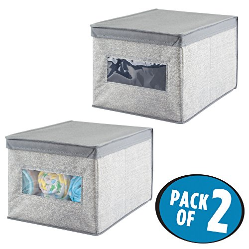 mDesign Soft Stackable Fabric Closet Storage Organizer Holder Box - Clear Window, Attached Hinged Lid, for Child/Baby Room, Nursery, Playroom – Textured Print - Large, Pack of 2 Gray by mDesign