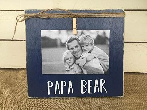 Father's Day Gift | Rustic Picture Frame | PAPA BEAR | Vintage Shabby Chic Picture Frame | FREE Shipping | by Burlap Bowtique
