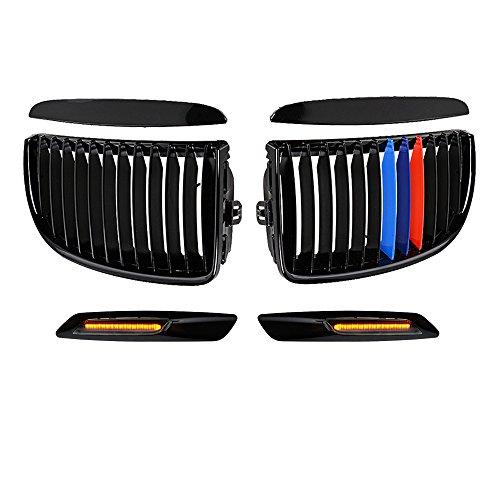 Glossy Black M-Color Kidney Grille + Matching Black Side Marker Light For E90 3-Series 325 328 330 335 4-Door Pre-Facelift ()