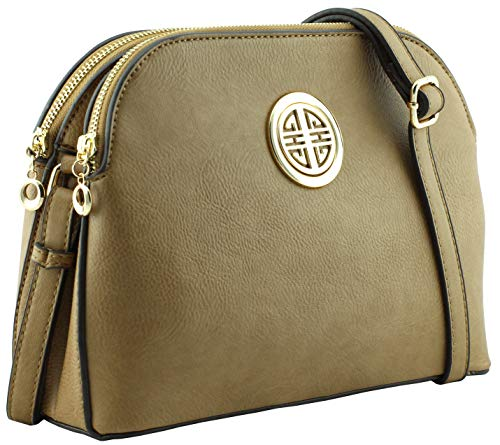 - Multi pockets functional dome shape cross body bag with gold tone emblem (Stone)