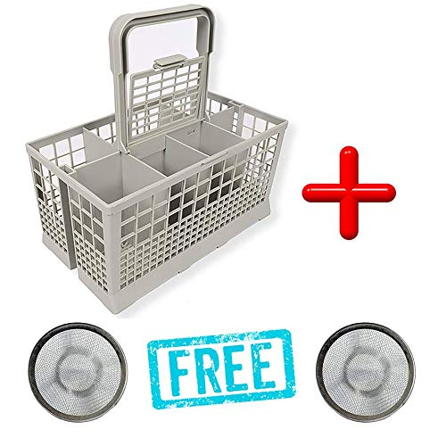 Dishwasher Cutlery Caddy – Universal Cutlery Basket – Premium Quality Cutlery Bin for Any Dishwasher Type – Ideal 9.45' x 5.5'x 4.7' – With Multiple Compartments, Handle & Lid + 2 Free Sink Strainers Mega Basket