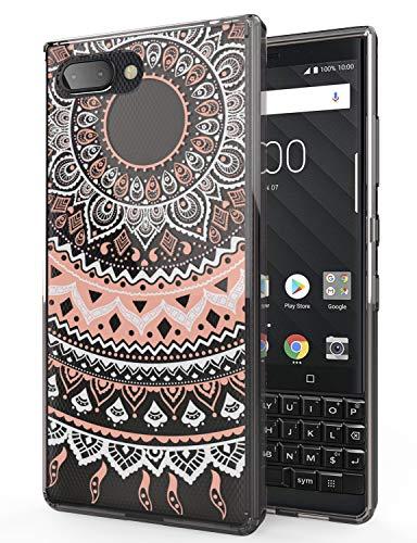Key2 Case Blackberry, SENON Colors Mandala Flower Cute Grils Ultra Slim Acrylic Hard Protection Cover TPU Bumper For BlackBerry KEY 2, Rose Gold